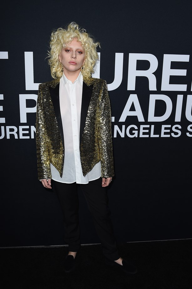 Lady Gaga at the Saint Laurent fashion show at the Palladium Theatre in Los Angeles.