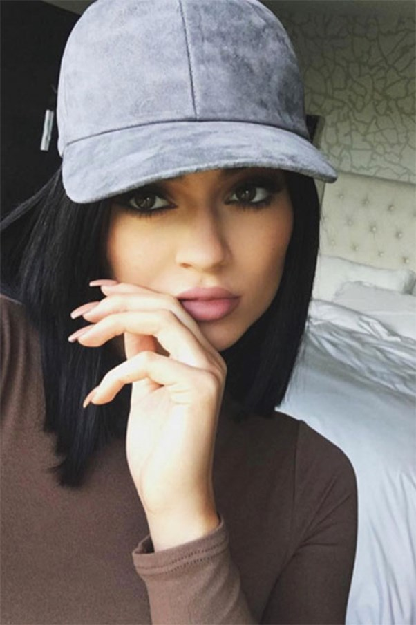 Kylie Jenner selfie with hat on.