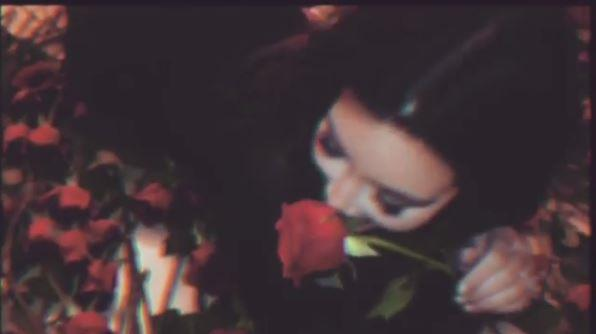 Kim Kardashian posted this shot of her lying on a bed (not a wall) or red roses.