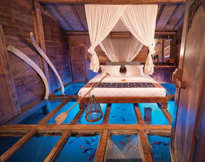 Bambu Indah, Bali: This eco lifestyle boutique hotel, hidden away in Ubud, is home to the Udang House, with glass floor panels that give guests the chance to see the water – formerly a shrimp pond – beneath.