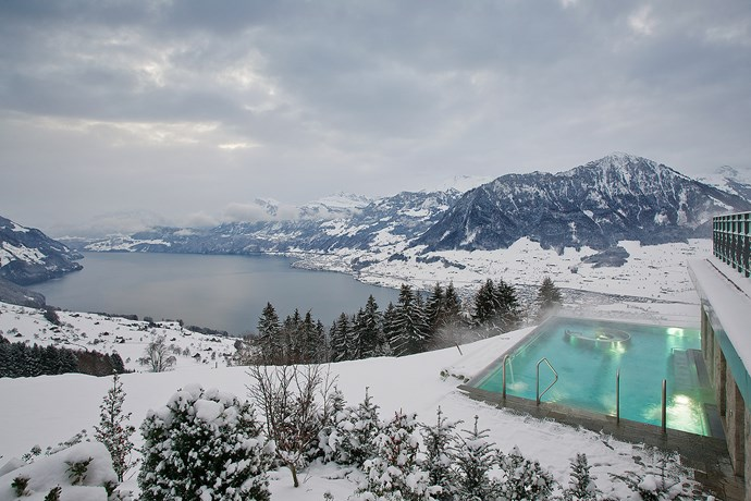 Hotel Villa Honegg, Switzerland: The Swiss have no shortage of incredible hotels, and wellness retreats are kind of their speciality, but this one's known for having an awe-inspiring 34-degree heated outdoor pool. Winter swims don't seem so scary anymore…