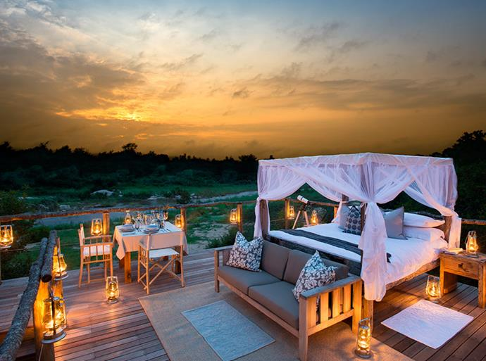 Lion Sands Game Reserve, South Africa: No, it's not the prize for winning an individual challenge and you're not on Survivor. Tinyeleti Treehouse is a room with a view; one of a number of unique guest 'rooms' located on this reserve which was established in 1933.