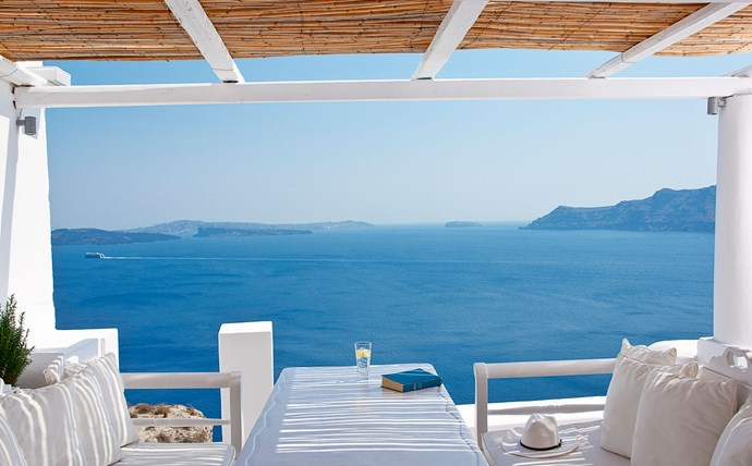 Villa Katikies, Greece: A holiday with nothing but endless blue and white scenery, and a little bougainvillea for good measure? Please and thank you. This 7 room property is equal parts exclusive and easy-going.