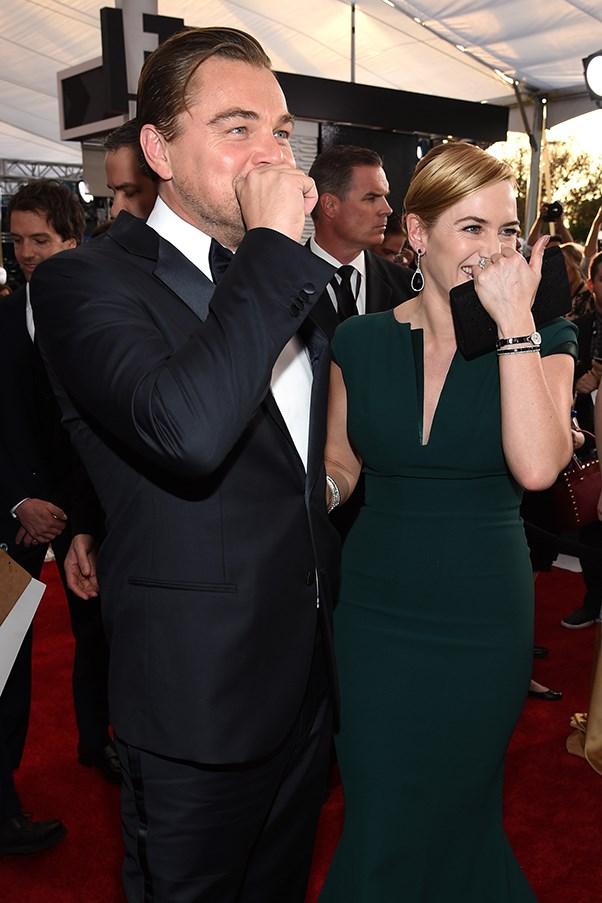 Kate Winslet and Leonardo DiCaprio at the 2016 SAG Awards.