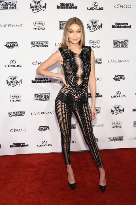 Gigi Hadid in a Julien Macdonald jumpsuit and Seamless Thread briefs.