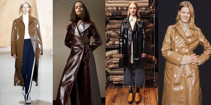 <strong>PATENT LEATHER TRENCH COATS</strong> <br><br> In the market for a raincoat that's equal parts chic and functional? Look no further than next season's patent leather trench coats. Once relegated to only accessories, the shinny finish was spotted on jackets at many of our favourite designers. <br><br> <em>As seen at Lacoste, Beaufille, Simon Miller, and Trademark</em>