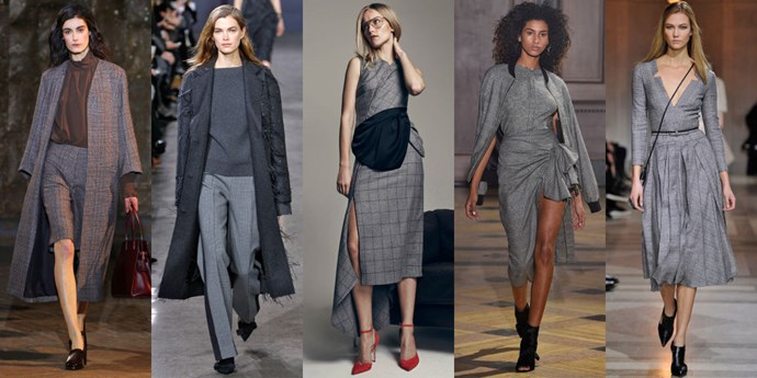 <strong>GREY PLAID SUITING</strong> <br><br> Trust us, this isn't you're run of the mill, boring grey plaid. This is a total upgrade in the form of unexpected cuts and silhouettes. <br><br> <em>As seen at Creatures of Comfort, Jason Wu, Hellessy, Sophie Theallet and Carolina Herrera.</em>