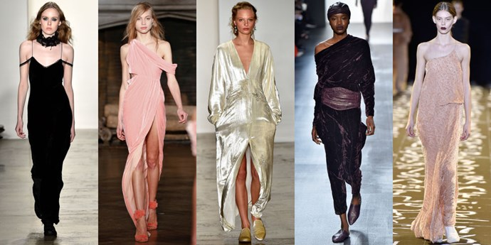 <strong>VELVET</strong> <br><br> If you aren't feeling yourself already, come Autumn/Winter 2016 you definitely will. The fabric of the season is so wonderfully soft you'll want to touch these chic pieces constantly. <br><br> <em>As seen at Adam Selman, Monse, Brock Collection, Nicholas K, Edun</em>