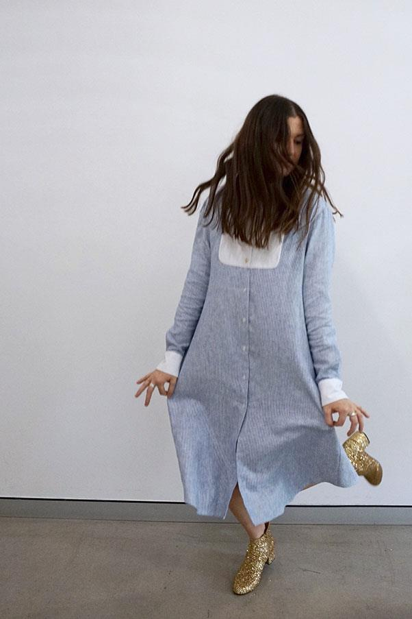 """Beth MacGraw, macgraw <br><br> 1. What's the outfit you can't stop wearing from your new collection? Why do you love it?<br> The Pony Shirt Dress in Blue. I love oversized shirting so its a no-brainer. The contrast bib and cuffs keep it crisp. <br><br> 2. Where do you wear it and how do you style it?<br> It's one of those rare outfits you can wear to a long day of appointments and still feel fresh. I either wear mine with a pair of white Cons or with my fave macgraw lucky glitter boots.<br><br> Pony Shirt Dress in Blue, $425, <a href=""""http://www.macgraw.com.au/"""">macgraw</a> Lucky Glitter Boot in gold, $495, <a href=""""http://www.macgraw.com.au/"""">macgraw</a>"""