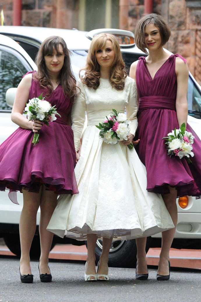 Keira Knightley was a bridesmaid at her brother's wedding in 2011 where she wore a very flouncy purple dress.