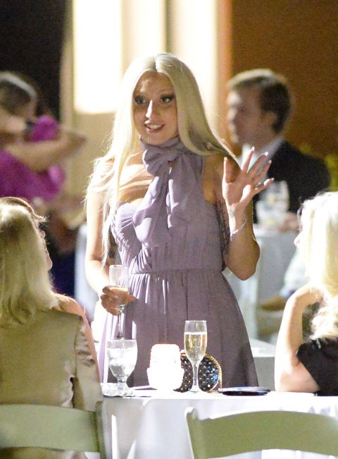 Is this the most pared down you've seen Lady Gaga? Probably. She wore this lilac pussybow dress to her best friend's wedding in New Orleans.