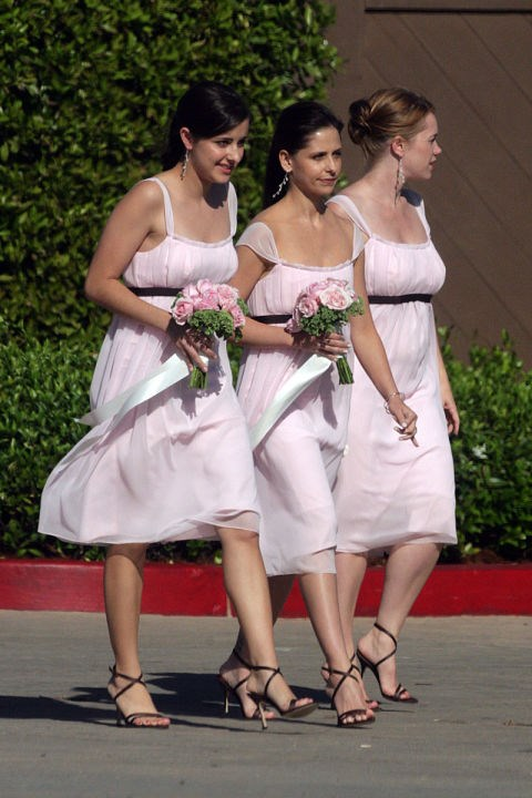 Not a stake in sight. Sarah Michelle Gellar AKA Buffy wore this fluffy pink creation at a friend's wedding.