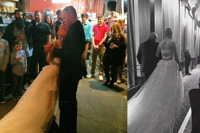 Paramore's Hayley Williams married her boyfriend Chad Gilbert over the weekend in a tulle dress with a long train and a short skirt in the front.