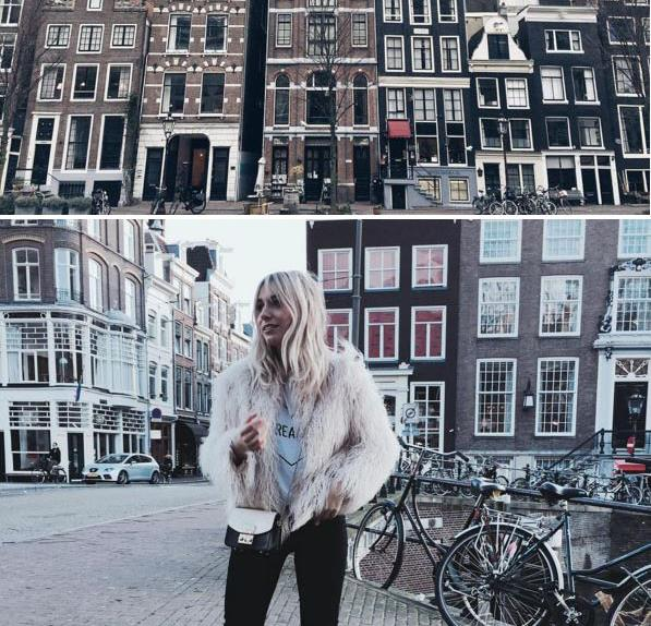 Girl standing in Amsterdam.