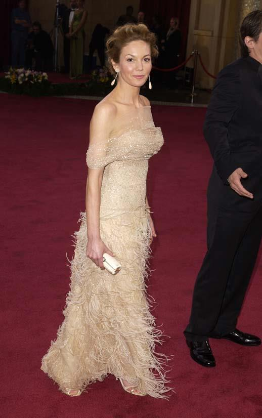 <strong>Diane Lane</strong>, 2003 <br><br> <strong>Designer:</strong> Oscar de la Renta <br> <strong>Why we love it:</strong> This ruffled Oscar de la Renta gown was the perfect choice for Diane Lane, who showed off just the right amount of shoulder. She paired it perfectly with those drop earrings.