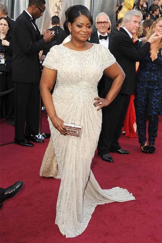 <strong>Octavia Spencer</strong>, 2012 <br><br> <strong>Designer:</strong> Tadashi Shoji <br> <strong>Why we love it:</strong> This dress fitted Octavia perfectly and was the most appropriate gown to take away the Oscar for best supporting actress.