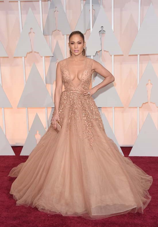 <strong>Jennifer Lopez</strong>, 2015 <br><br> <strong>Designer:</strong> Elie Saab Couture <br> <strong>Why we love it:</strong> Elie Saab has done it again with this princess gown. J-Lo opted for this soft, girly look over her usual strong and sexy, but it definitely worked.