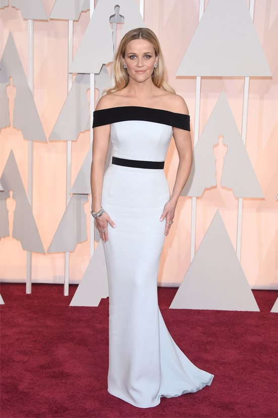 <strong>Reese Witherspoon</strong>, 2015 <br><br> <strong>Designer:</strong> Tom Ford <br> <strong>Why we love it:</strong> The colour scheme of this Tom Ford gown is timeless. The off-the-shoulder design looks stunning on Reese, and the silhouette is super sweet too.