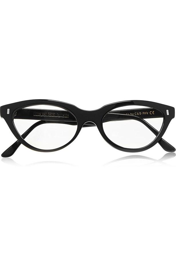 """Frames, $503, Cutler & Gross, <a href=""""https://www.net-a-porter.com/au/en/product/530604/Cutler_and_Gross/cat-eye-acetate-optical-glasses """">net-a-porter.com</a>"""