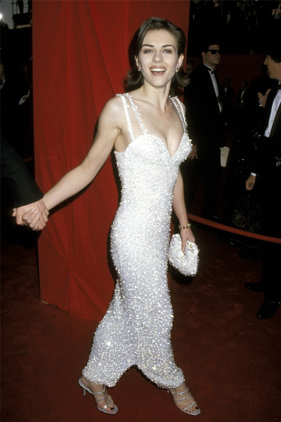 <strong>Elizabeth Hurley</strong>, 1995 <br><br> <strong>Designer:</strong> Versace <br> <strong>Why we love it:</strong> This Versace gown is definitely one of the most talked about dresses in history, and with good reason. The white beading was such a standout.
