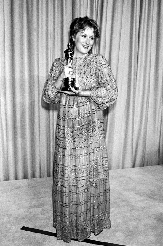 <strong>Meryl Streep</strong>, 1983 <br><br> <strong>Designer:</strong> Christian Leigh <br> <strong>Why we love it:</strong> A pregnant Meryl looks like an Oscars goddess.