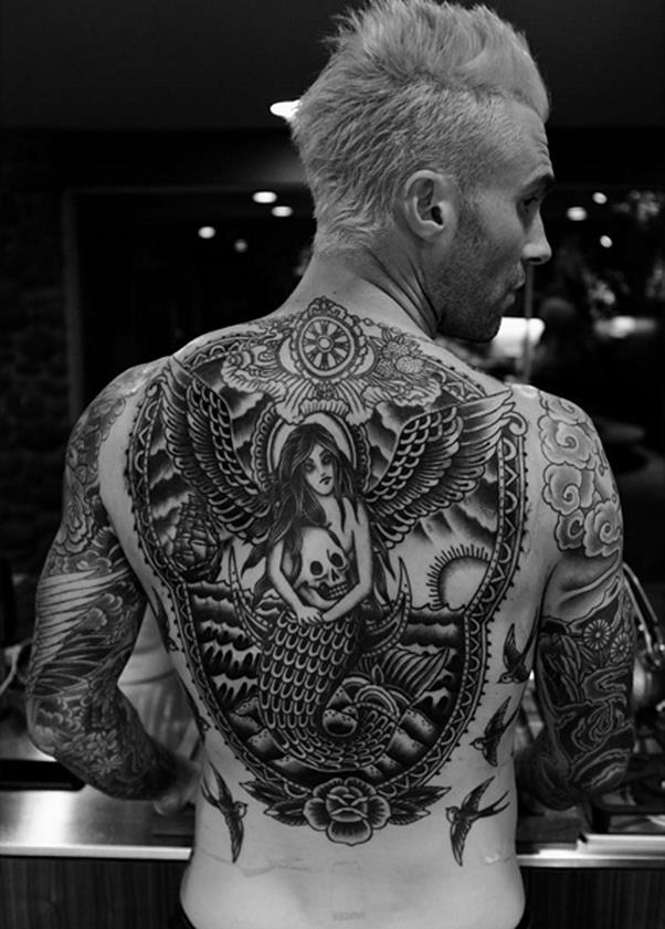 Adam Levine recently added this huge mermaid-centric back piece to his collection of tattoos.