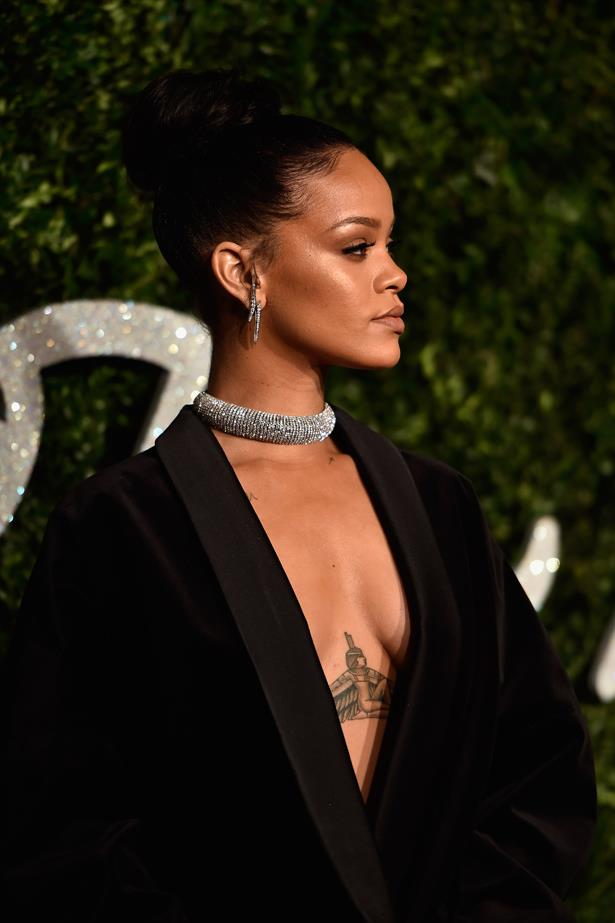 Rihanna is known for her Egyptian goddess on her chest, along with her mandala on her hand, stars on her neck, and various scripts here and there.