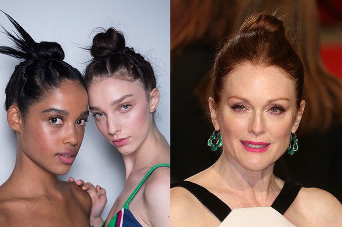 <strong>Runway Inspiration: Tanya Taylor</strong> <br><Br><strong>Julianne Moore </strong>opts for a sleek bun at the<strong> British Academy Film Awards</strong>.