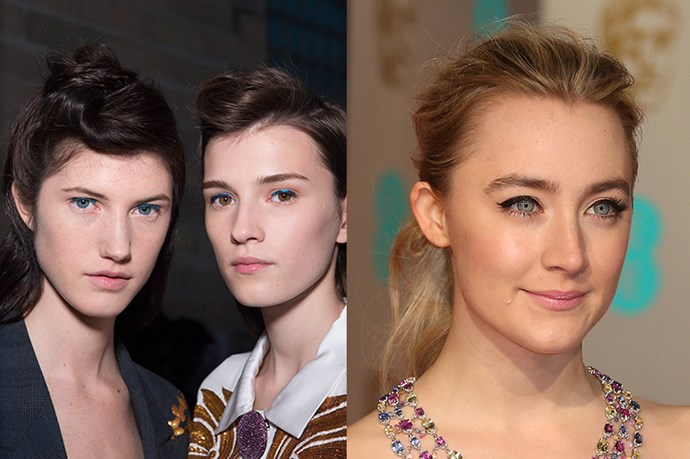 <strong>Runway Inspiration: Dries van Noten</strong> <br><Br> <strong>Saoirse Ronan</strong> pulls her locks back into a tousled pony at the <strong>British Academy Film Awards</strong>.