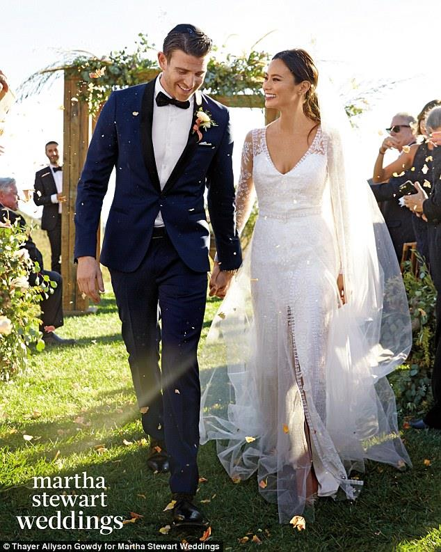 Jamie Chung showed off her two incredible wedding dresses from her Halloween wedding last year in Martha Stewart Weddings.