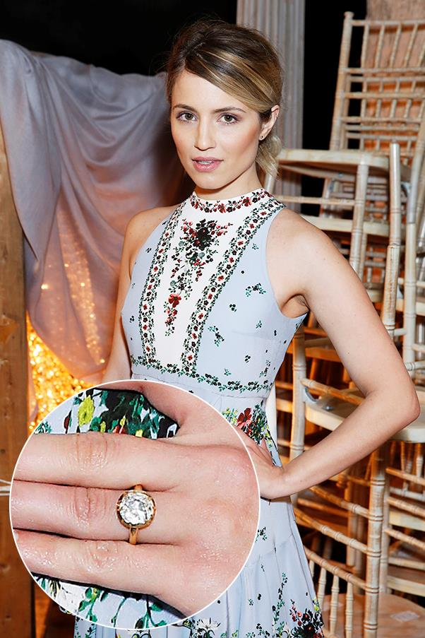 ***Dianna Agron.***<br><br> Dianna Agron showed off her brand new engagement ring from fiance Winston Marshall, the vocalist and banjo player from Mumford and Sons, a the Erdem show in London.