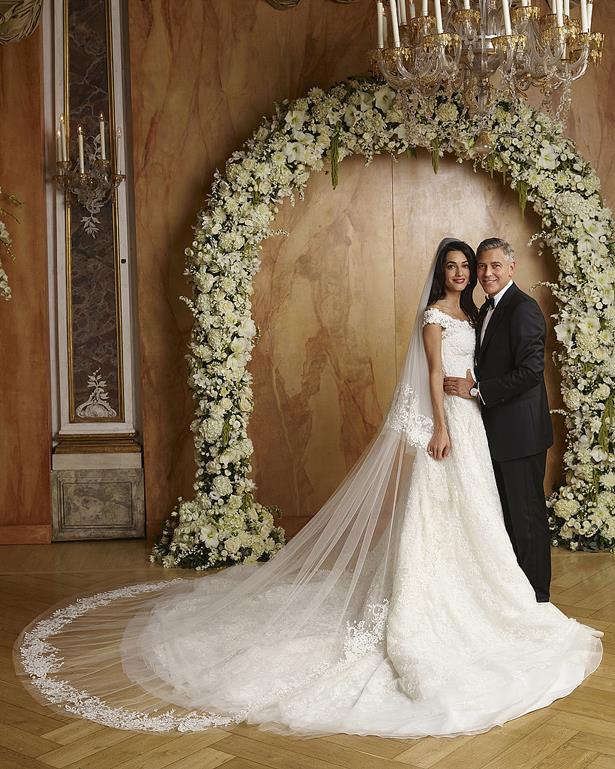 Amal Clooney wore Oscar de la Renta for her lavish 2014 wedding to George Clooney in Venice.