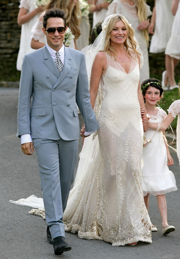 Kate Moss wore custom Vintage-inspired John Galliano.