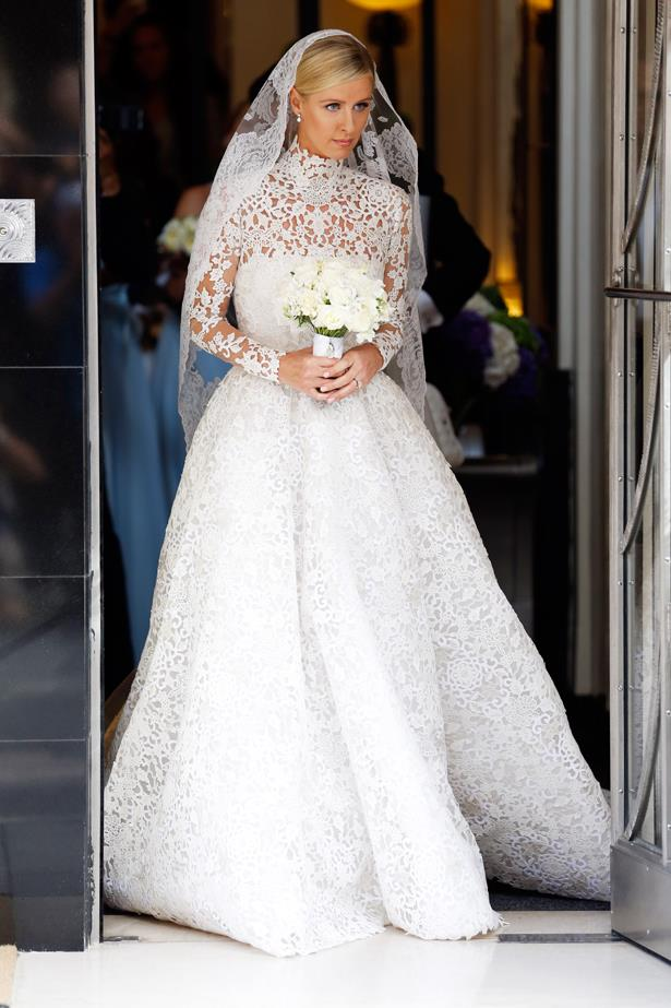 Nicky Hilton wore a very demure high-necked gown.