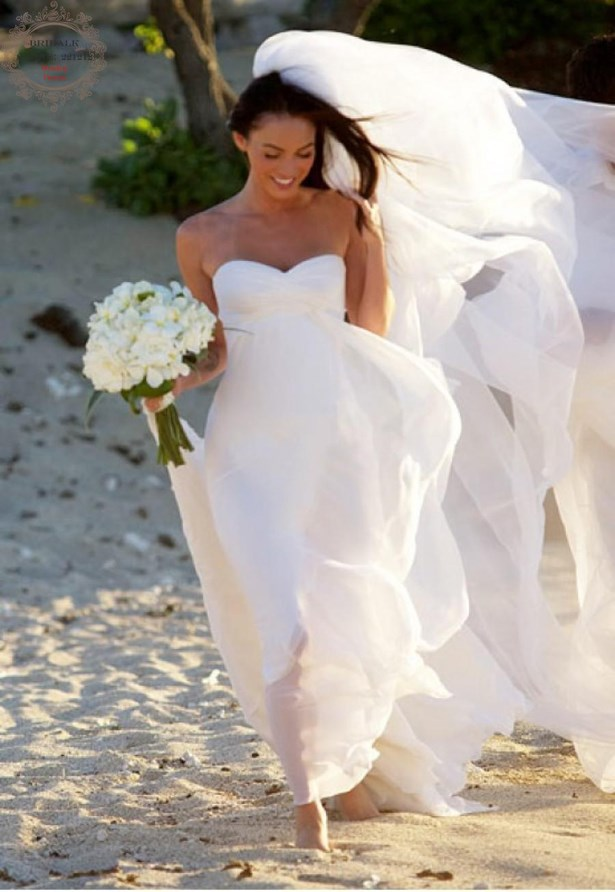 Megan Fox went traditional for her island beach wedding.
