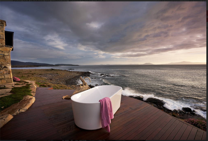 Bathtub on water's edge in Tasmania