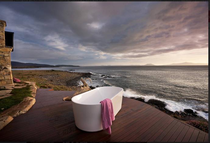 Bathtub on water's edge in Tasmania