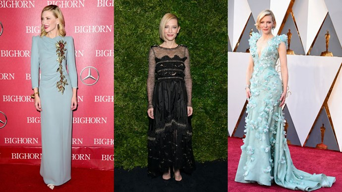 <strong>Who:</strong> Cate Blanchett <br> <strong>Signature Style:</strong> chic feminine