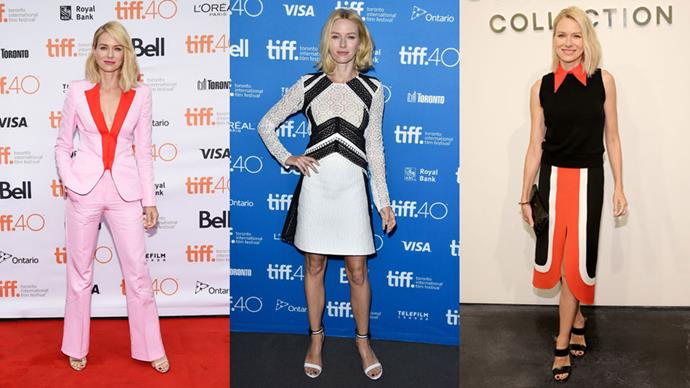 <strong>Who:</strong> Naomi Watts <br> <strong>Signature Style:</strong> blocks of colour