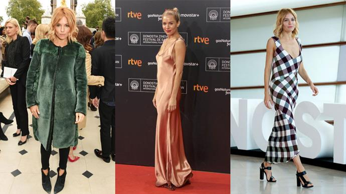 <strong>Who:</strong> Sienna Miller <br> <strong>Signature Style:</strong> funky modern