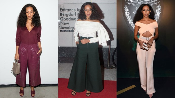 <strong>Who:</strong> Solange Knowles <br> <strong>Signature Style:</strong> flared pants
