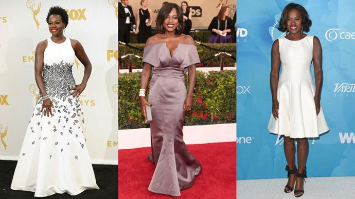 <strong>Who:</strong> Viola Davis <br> <strong>Signature Style:</strong> elegant