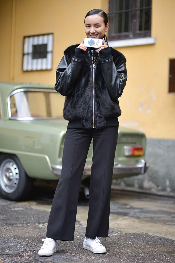 A model at Milan Fashion Week