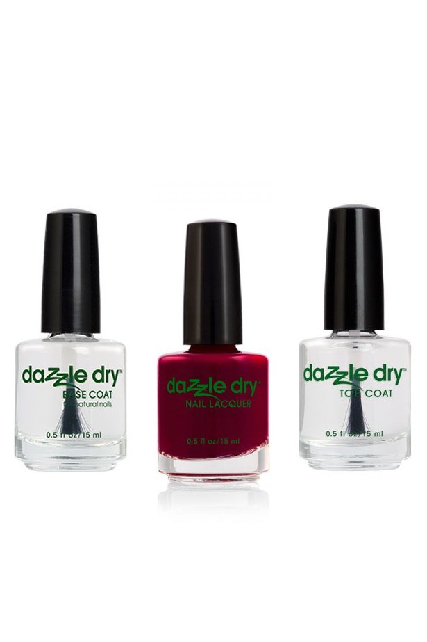 <strong>Brand: Dazzledry nail polish</strong> <br><br> With all the staying power of a gel manicure and none of the hassle of the UV light, Dazzledry's vegan formula delivers a maintainable manicure all whilst strengthening your natural nails. No toxins, no chips, and next to no drying time. Sign us up. <br><br> <em>Quick Dry Top Coat, $24.95, Dazzle Dry, dazzledryaustralia.com Base Coat, $24.95, Dazzle Dry, dazzledryaustralia.com Nail Lacquer in Fast Track Cherry, $24.95, Dazzle Dry, dazzledryaustralia.com </em>