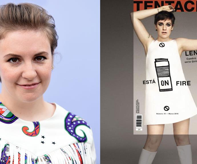 Lena Dunham on the cover of magazine Tentaciones.