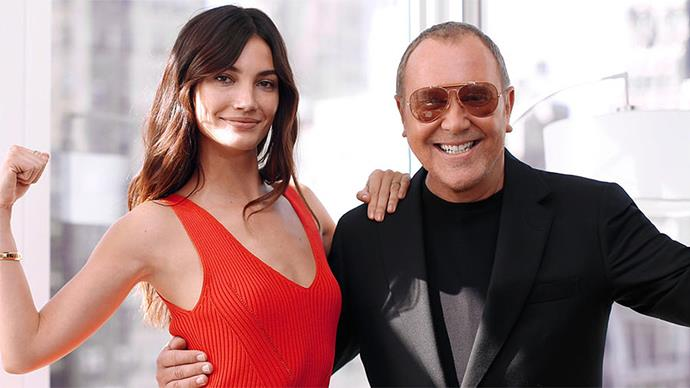 Lily Aldridge and Michael Kors playing the 'Glamour Games 2'.