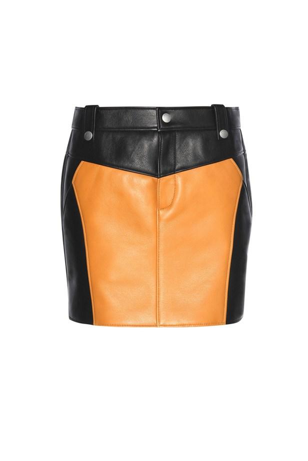 "<a href=""http://www.mytheresa.com/en-au/leather-miniskirt-566778.html?catref=category"">Skirt, $1250, <strong>Coach </strong>at mytheresa.com</a>"