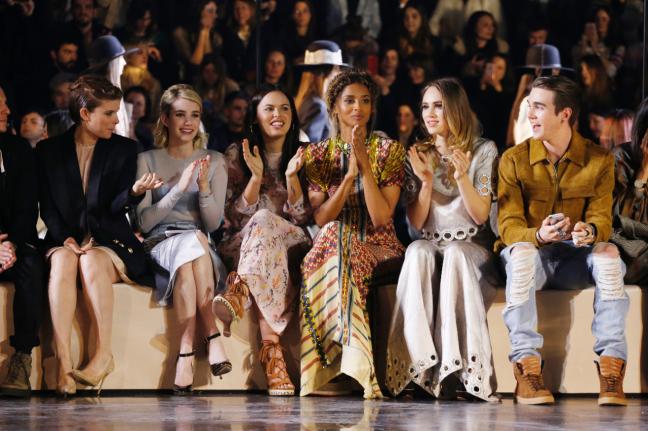 Front row, from left: Kate Mara, Emma Roberts, Ciara, Suki Waterhouse and Gabriel-Kane Day-Lewis.