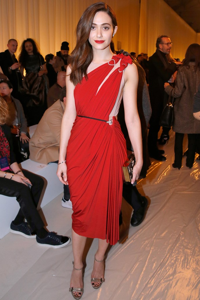 Emmy Rossum at Lanvin's Paris Fashion Week show