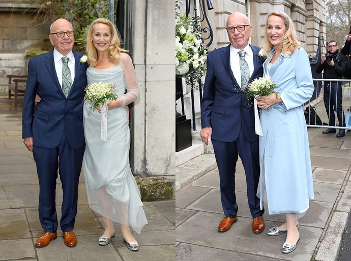 Jerry Hall married Rupert Murdoch this weekend in a very delicate blue Vivienne Westwood gown. The blushing bride paired her draped dress with a blue overcoat, a headband with a net veil and buckled flats. Très chic.